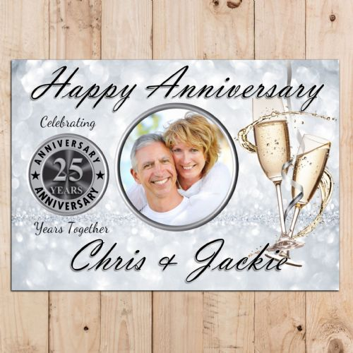 Personalised 25th Silver Wedding Anniversary Party PHOTO Banner Poster N67